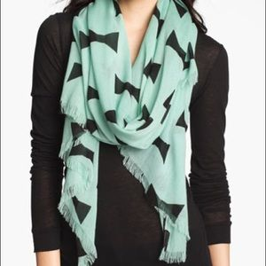 Kate Spade Bow Tie Print Large Turquoise Scarf